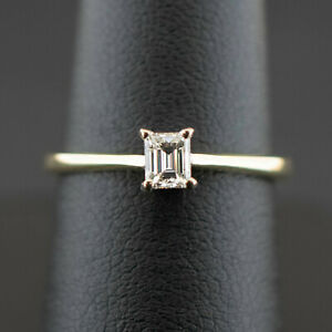 (Wi1) 18ct Carat Gold Emerald Cut Diamond Solitaire Ring Size L