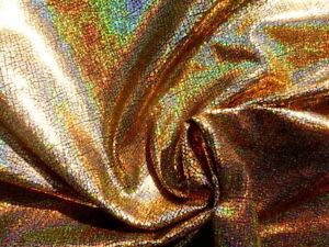 Pigskin leather hide skin Holographic Metallic Rainbow Gold Crackle Texture 2 oz