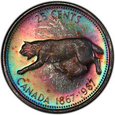 MS65 1967 25C Canadian Silver Lynx Quarter, PCGS Secure- Rainbow Toned