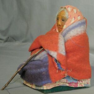 Antique Skookum Style Native American Indian Doll PRE COMPO Wise Woman BARK Face