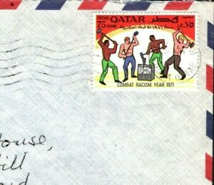 Gulf States QATAR Cover *ANTI-RACISM* Stamp Doha Commercial 1971 Air Mail ZG107