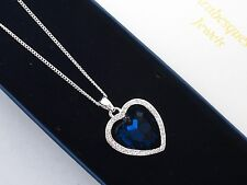ARABESQUES JEWELS GENUINE CRYSTAL BLUE BALLET HEART NECKLACE/PENDANT/CHAIN 45/51