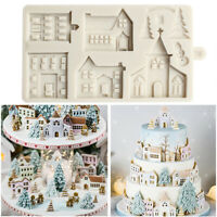 Christmas Tree House Silicone Fondant Cake Decor Mold Chocolate Sugarcraft Mould