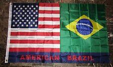 3x5 USA American Brasil Brazil Friendship Combination Flag 3'x5' Banner Grommets