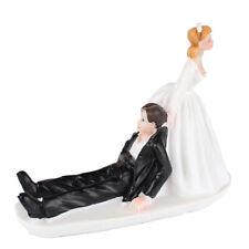 Resin Wedding Cake Topper Figure Reluctant Groom Couple Bridal Decor