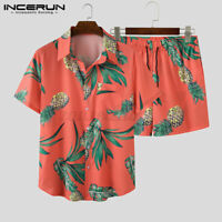 Men's Hawaiian Beach Suit Printed Shorts + Shirts Short Party Fancy Hippie Set