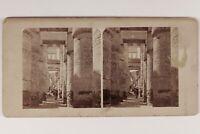 Egitto Tempio Da Karnak Geroglifici c1860 Foto Francis Frith Stereo Albumina