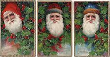 SUPER Set - Series of 3 Santa Claus Embossed Postcards Germany ca 1909 Christmas