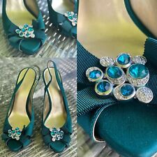 NINE WEST Heels Uk Size 6 Peep-toe Satin Evening Slingback Rhinestone Turquoise