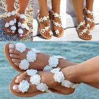 Women Summer Bohemia Flower Beach Sandals Flat Shoes Thongs Slippers Flip Flops