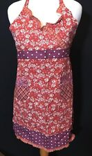 Vintage Cotton Colorful Red And Purple FloraL Polka  DOTS LADIES Full Apron