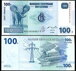 CONGO 100 FRANCS 2007 P 98 UNC
