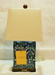 Ralph Lauren Dark Blue with White Floral Porcelain Small Table Lamp & Shade New