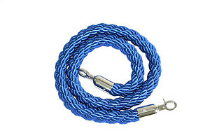 Blue Braided VIP Entrance Ropes with Silver Steel Hooks