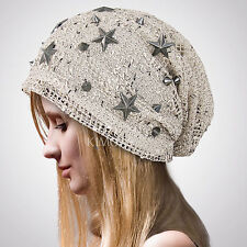 Women Chic BAGGY BEANIE STAR Crochet slouchy Hat skull Deb Beret Studed Metal