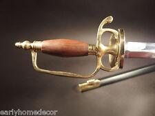 Antique Style French Hanger Cutlass Sword Brass Wood French Indian War Rev War