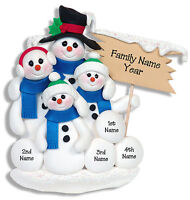 SNOWMAN Family of 4 Handmade Polymer Personalized Christmas Ornament  Deb & Co