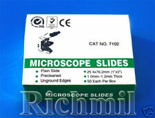 100 New Glass Microscope Slides Plain Clear Cut Edges