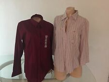 2 Steve & Barry's Button Up Long Sleeve Tops Red Wine & Pink Pinstripes L NWT