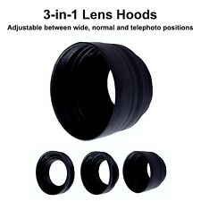 58mm Rubber Collapsible Lens Hood DSLR Camera 3 in 1 Wide Normal Tele Reverse