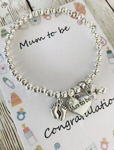 Mummy Mum To Be Pregnancy Wish Bracelet Baby Shower Gift Baby Feet Dummy