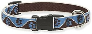 """New Dog Collar Lupine Pet MUDDY PAWS XSmall 1/2"""" x 6-9"""" Adjustable Blue Brown"""