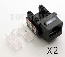 2 Pack Lot - CAT5e RJ45 110 Punch Down Keystone Modular Snap-In Jacks - Black