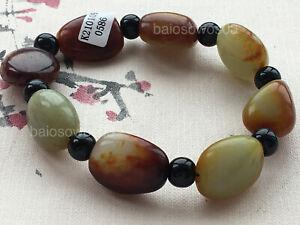 Certified natural A grade HeTian jade beads elastic bracelet 和田玉 0586