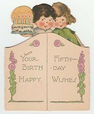 Vintage Birthday Card Children and Cake Age 5 Charles Twelvetrees Die-Cut