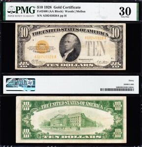 AWESOME Crisp Choice VF++ 1928 $10 GOLD CERTIFICATE! PMG 30! FREE SHIP! 45928A