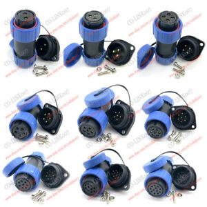 SP21 Frank Panel IP68 Waterproof Plug Socket Connector, 2 3 4 5 6 7 8 9 10 12Pin