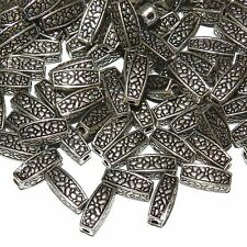 MBX7236L2 Dark Antiqued Silver Flower Deco 12mm Square Tube Metal Beads 100/pkg
