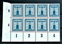 W.W.2 ORIGINAL GERMAN BLOCK OF 8 OFFICIAL STAMPS WITH MARG.4 RF. MNH