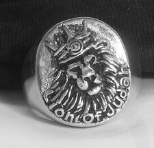 Men's Royal  Lion Of Judah Ring with Crown Heavy Solid  Sterling Silver Rasta