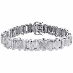 "Sterling Silver Round White Diamond 13mm Statement Link 8.50"" Bracelet 7/8 CT."