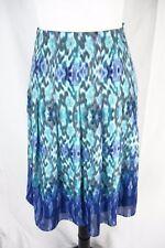 Jones New York Skirt size 14 Blue Purple Watercolors Knee Pleated Modest