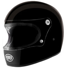 Premier Trophy Retro Full Face Motorcycle Bike Helmet Lid - Gloss Black L