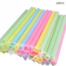AU_ 100X Cute Thick Plastic Drinking Straws Thick Smoothie Bubble Tea Disposable