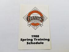 San Francisco Giants 1988 MLB Baseball Spring Training Pocket Schedule