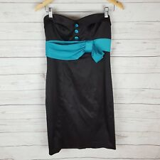 Pilgrim Dress Size 10 Strapless Black with Teal Accents