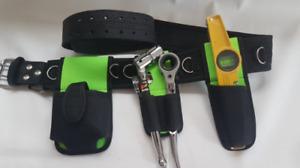 Scaffolding Nylon Leather Tool Belt 4PC Tools Flat 1921 10'' Ratchet SpiritLevel