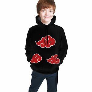 Anime Akatsuki NARUTO Boys Pullover Hoddie Kid Youth Long Sleeve Sweatshirt Coat