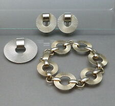 Vintage Signed Napier Sterling Silver Demi Parure Brooch Bracelet Earrings Set