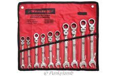 10pc Ratchet Spanner Set Combi Flexi Metric Flexible Combination Wrench 10-19mm