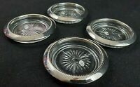 VINTAGE SET of 4 GLASS DRINK COASTERS with Silver Tone Trim Made in Hong Kong