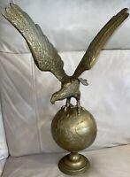 "Vintage 23"" Brass American Eagle On Globe Federal Flag Pole Topper Finial"