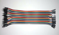 40Pcs 20cm Color Dupont Wire Jumper Ribbon Cable 2.54mm 1P-1P Male to Female FT