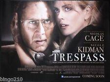 TRESPASS ORIGINAL 2011 CINEMA QUAD POSTER NICOLAS CAGE NICOLE KIDMAN