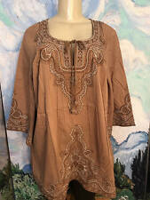Denim 24/7 Plus 14W Brown Embroidered Bohemian Tie Neck 3/4 Sleeve Tunic Top