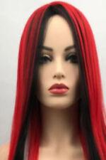 Long Straight Wig Red Black White Mix Wigs Women New Fashion Ladies